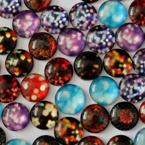 18mm Round Glass Cabochon Mixed Bokeh Lights Style Dome Jewelry Finding Cameo Pendant Settings