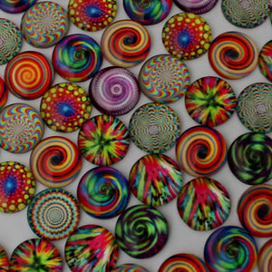 18mm Round Glass Cabochon Mixed Kaleidoscope Style Dome Jewelry Finding Cameo Pendants Settings