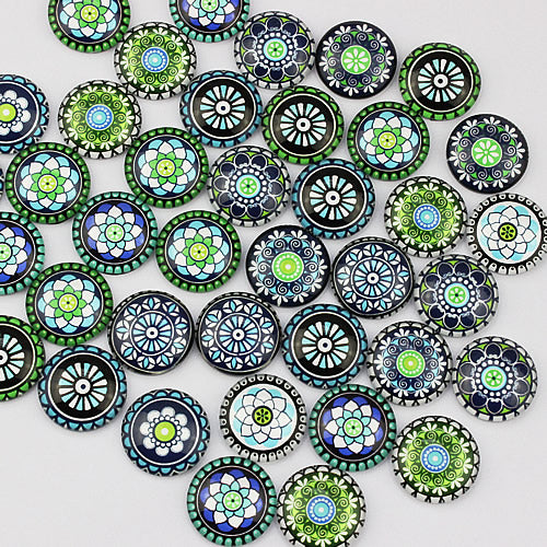 18mm Round Glass Cabochon Mixed Kaleidoscope Mosaic Style Dome Jewelry Finding Cameo Pendant Settings