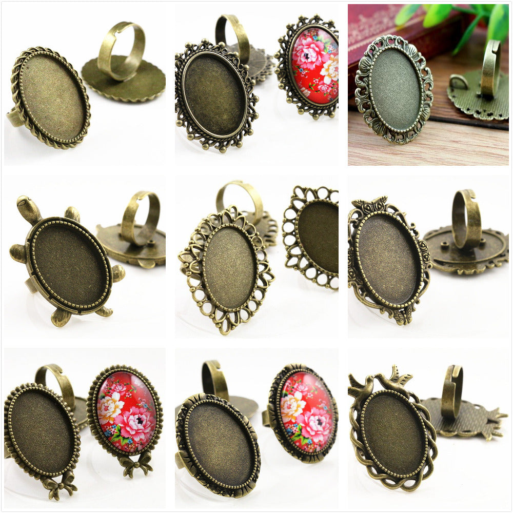 18x25mm Antique Bronze Plated 9 Style Brass Oval Adjustable Ring Settings Blank/Base Fit For 18x25mm Glass Cabochons