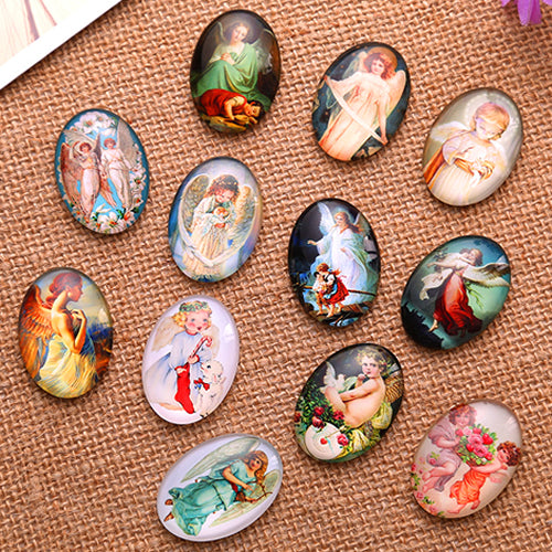 18x25mm Angels Oval Glass Cabochon Jewelry Finding Fashion Summer Cameo Pendant Settings
