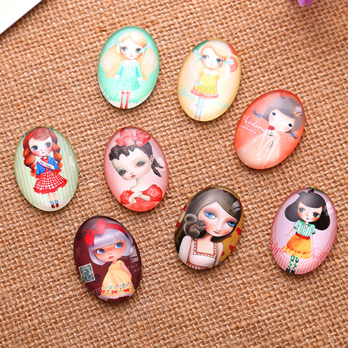 18x25mm Cartoon Girl Oval Glass Cabochon Jewelry Finding Cameo Pendant Settings
