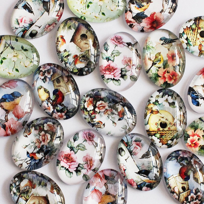 18x25mm Oval Mixed Flower Bird House Glass Cameo Cabochon Flatback Photo Dome Jewelry Finding Pendant base 20pcs/lot
