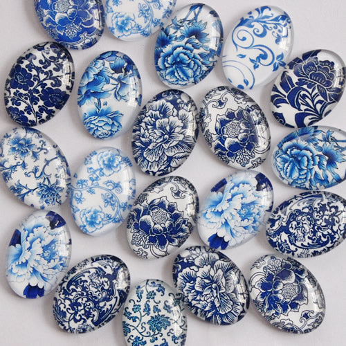 Blue and White Porcelain Oval Glass Cabochon 18x25mm Jewelry Finding Cameo Pendant