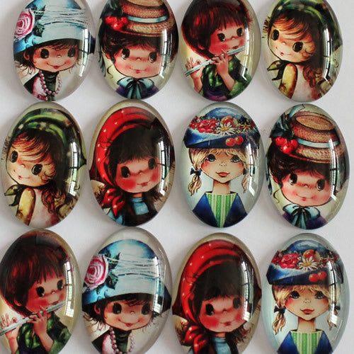 Cartoon Girl Oval Glass Cabochon 18x25mm Jewelry Finding Cameo Pendant