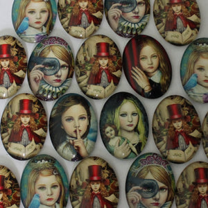 18x25mm Fashion Girl Oval Glass Cabochon Jewelry Finding Cameo Pendant Settings