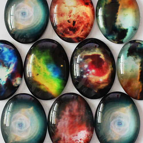 18x25mm Mixed Style Star Oval Glass Cabochon Dome Jewelry Finding Cameo Pendant Settings