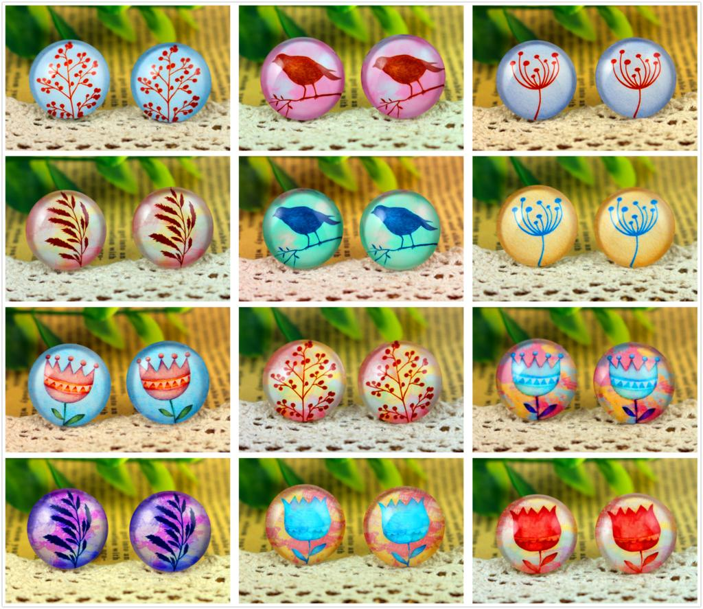 20mm Round Glass Cabochon Assorted Colorful Design Patterns Cameo Fit Finding Settings