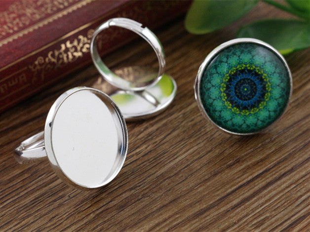 20mm Light Silver Plated Brass Adjustable Ring Bezels Fit Blank Base Buttons Setting