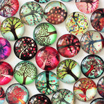 20mm Life Tree Round Glass Cabochon Jewelry Finding Cameo Pendant Settings