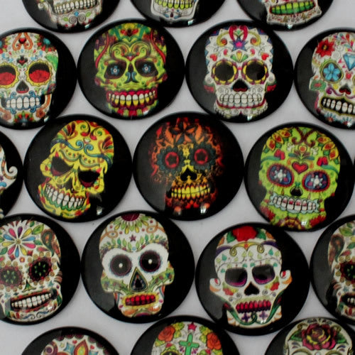 20mm Mixed Style Cartoon Skull Round Glass Cabochon Dome Jewelry Finding Cameo Pendant Settings