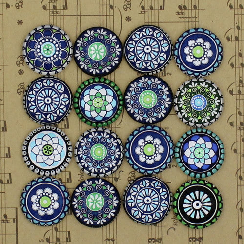 20mm Round Glass Cabochon Mixed Glass Flower Mosaic Style Dome Jewelry Finding Cameo Pendant Setting