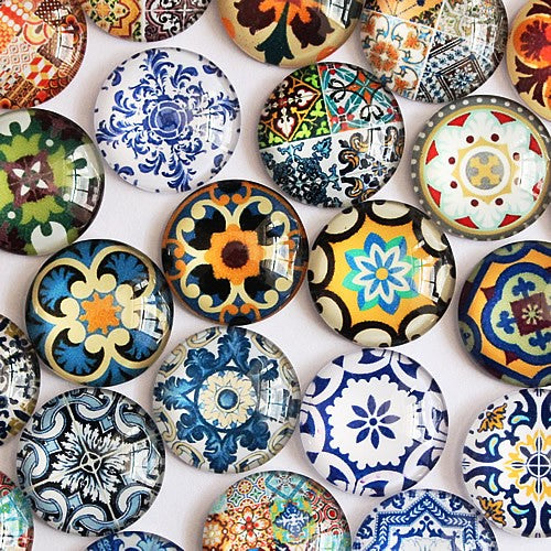20mm Mixed Flower Glass Cabochon Jewelry Finding Cameo Pendant Settings