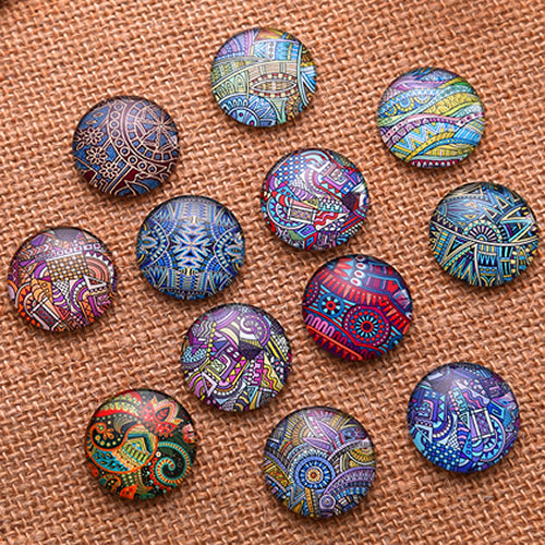 20mm Round Glass Cabochon Mixed Pattern Style Dome Jewelry Finding Cameo Pendant Settings