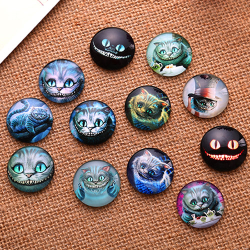 20mm Cheshire Cat Round Glass Cabochon Jewelry Finding Cameo Pendant Settings