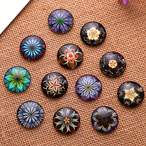 20mm Round Glass Cabochon Mixed Style Dome Jewelry Finding Cameo Pendant Settings