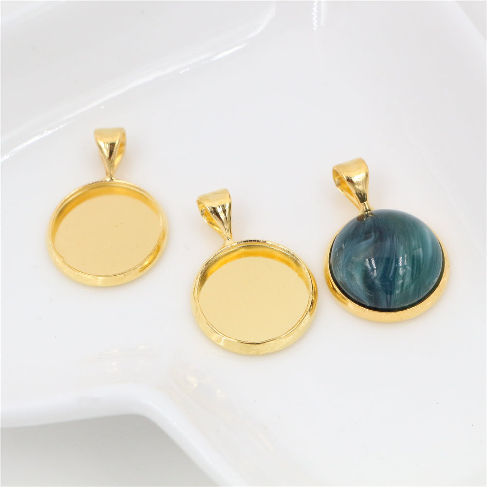 12mm Inner Size Gold Plated Brass Material Simple Style Base Setting Charms Pendant Tray