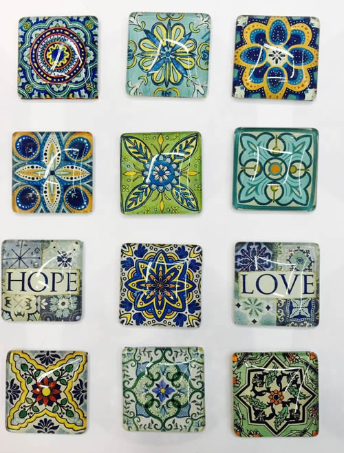 20x20mm Mixed Style Square Glass Cabochon Jewelry Finding Cameo Pendant Settings