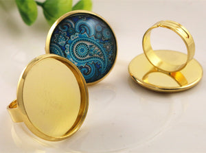 25mm 4 Colors Plated Brass Adjustable Ring Settings Blank Base Fit Buttons Ring Bezels