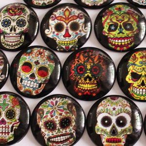 25mm Skull Candy Round Glass Cabochon Jewelry Finding Cameo Pendant Settings