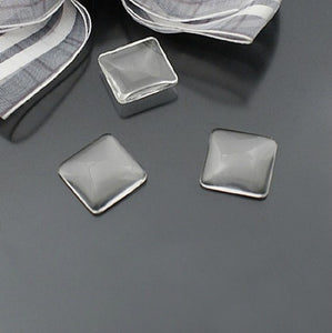 12mm High Quality Square Flat Back Clear Glass Cabochon