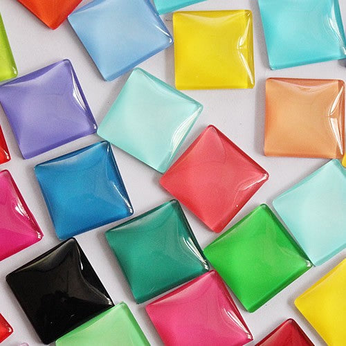 25x25mm Colorful Square Glass Cabochon Pendant Settings Accessories