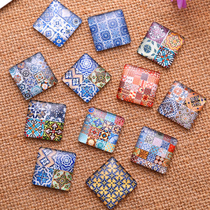 25x25mm Square Glass Cabochon Mixed Pattern Style Dome Jewelry Finding Cameo Pendant Settings
