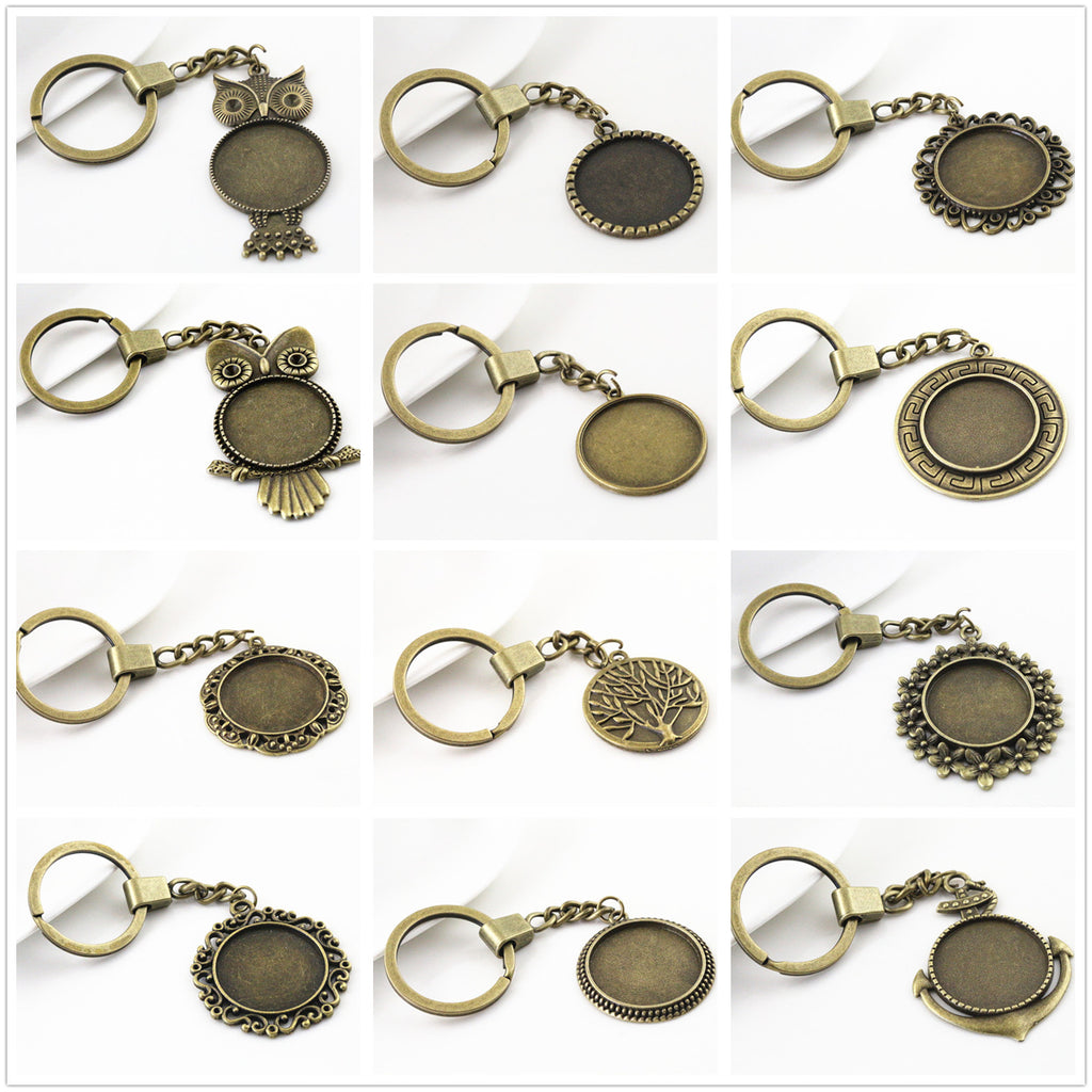 25mm Inner Size 12 Style Antique Bronze Fit Base Metal Key Chains Accessories Setting