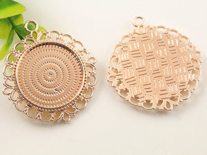 25mm Inner Size High Quality Rose Gold plated Flower Style Setting Stars Style Pendant