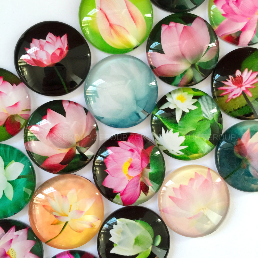30mm 35mm Round Glass Cabochon Lotus Pictures Mixed Pattern Fit Cameo Base Setting