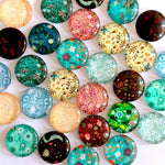 30mm 35mm Round Glass Cabochon Floral Pictures Mixed Pattern Fit Cameo Base Setting