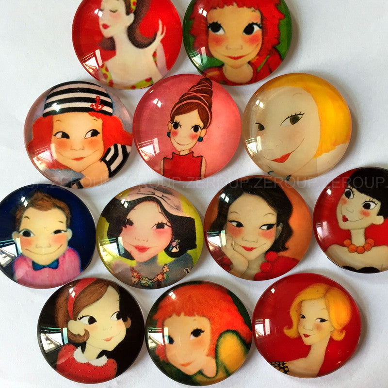 30mm 35mm Girls Mixed Pattern Round Glass Cabochon Fit Cameo Base Setting