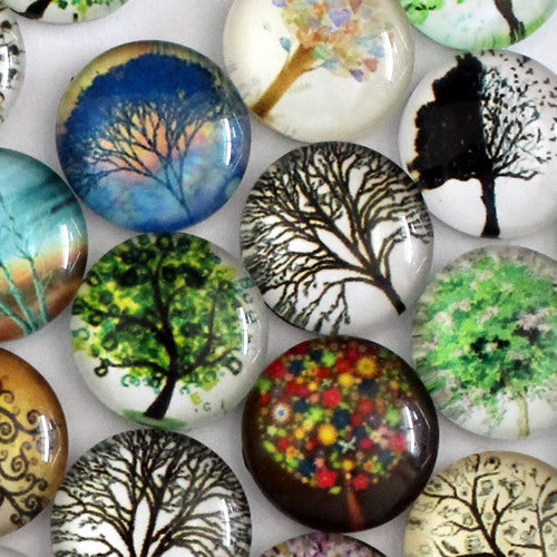 30mm Tree of Hope Round Glass Cabochon Jewelry Finding Cameo Pendant Settings