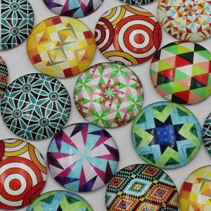 30mm Round Glass Cabochon Mixed Kaleidoscope Style Dome Jewelry Finding Cameo Pendant Settings