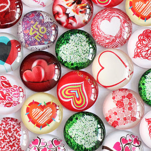 30mm Round Glass Cabochon Mixed Style Love Heart Dome Jewelry Finding Cameo Pendant Settings