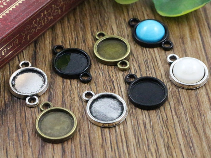 10mm Inner Size Antique Bronze And Silver And Black Plated 6 Simple Style Base Setting Charms Pendant