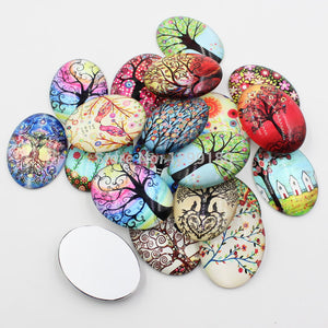 30x40mm Tree of Life Oval Glass Cabochon Jewelry Finding Cameo Pendant Settings