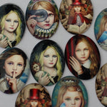 Fashion Girl Oval Glass Cabochon 30x40mm Jewelry Finding Cameo Pendant