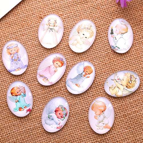 30x40mm Baby Angels Oval Glass Cabochon Jewelry Finding Cameo Pendant Settings