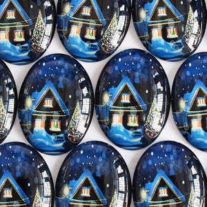 30x40mm Christmas House Oval Glass Cabochon Jewelry Finding Cameo Pendant Settings