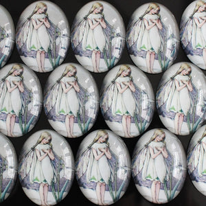 30x40mm Butterfly Girl Oval Glass Cabochon Jewelry Finding Cameo Pendant Settings