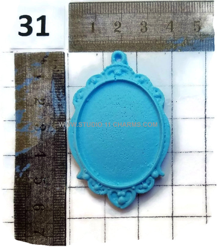 12 Resin Frame Setting Bezel Victorian Style fit 40x30 cameo BLUE 31.1