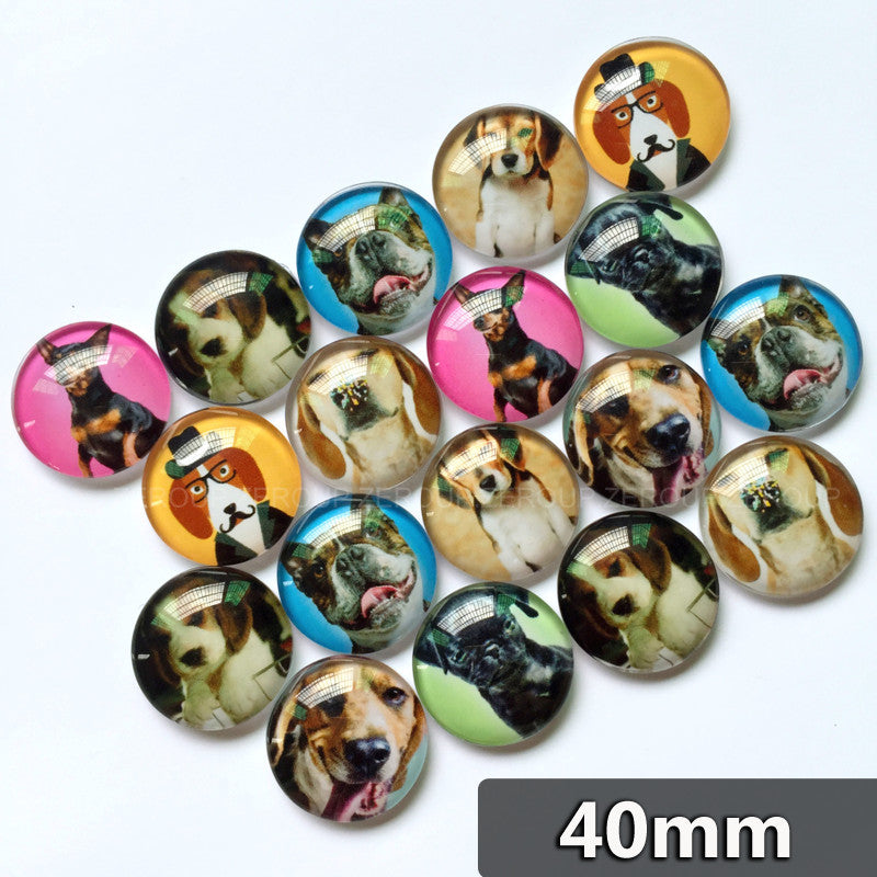 40mm Handmade Dogs Glass Cabochons Mixed Pattern Domed Round Jewelry Accessories Supplies