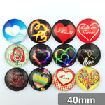 40mm Love Heart Round Glass Cabochon Mixed Pattern Fit Cameo Base Setting