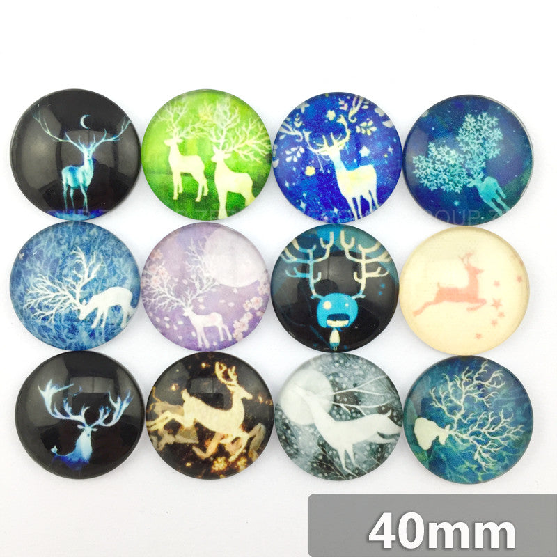 40mm Deer Round Glass Cabochon Mixed Pattern Fit Cameo Base Setting