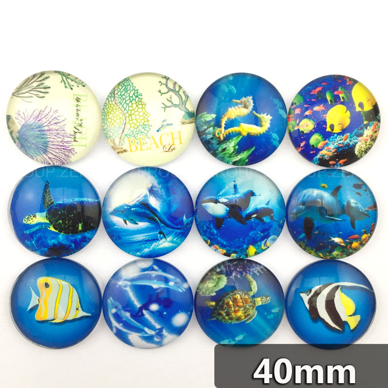 40mm Blue Water Sea Creature Round Glass Cabochon Mixed Pattern Fit Cameo Base Setting