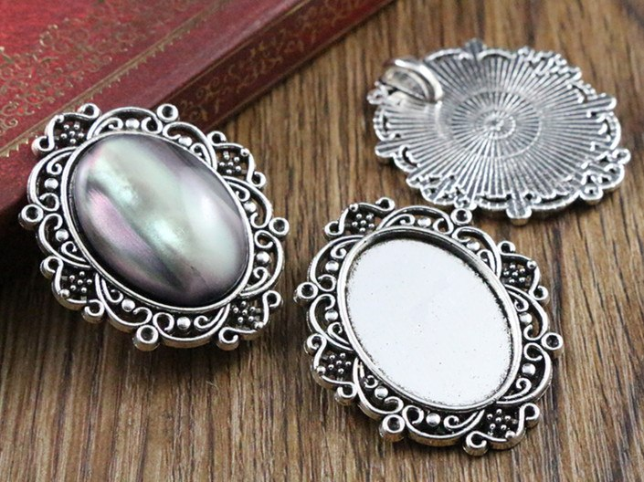 18x25mm Inner Size 3 Colors Plated Flowers Style Base Setting Charms Pendant