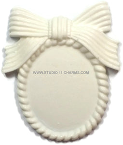 12 Resin Frame Setting Bezel Victorian Vintage Style fit 40x30 cameo WHITE 5.3