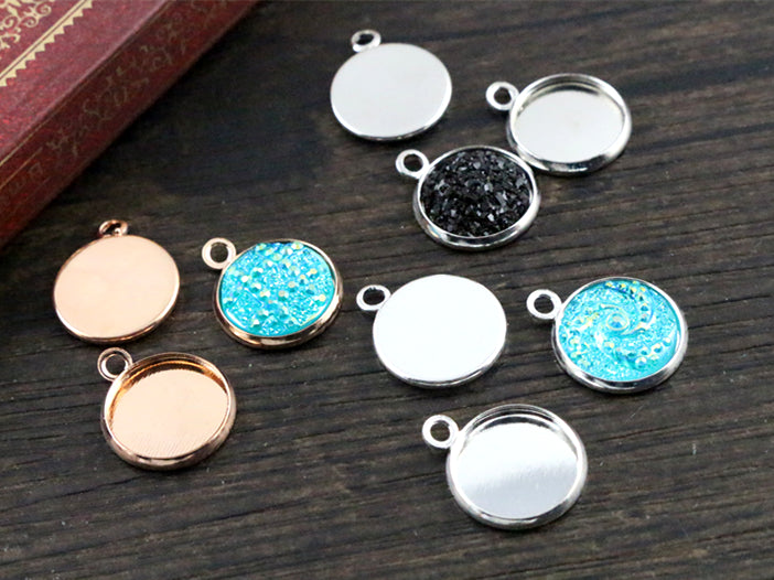 12mm Inner Size Bright Silver And Rhodium Rose Gold  Colors Plated High Quality Iron Material Setting Pendant