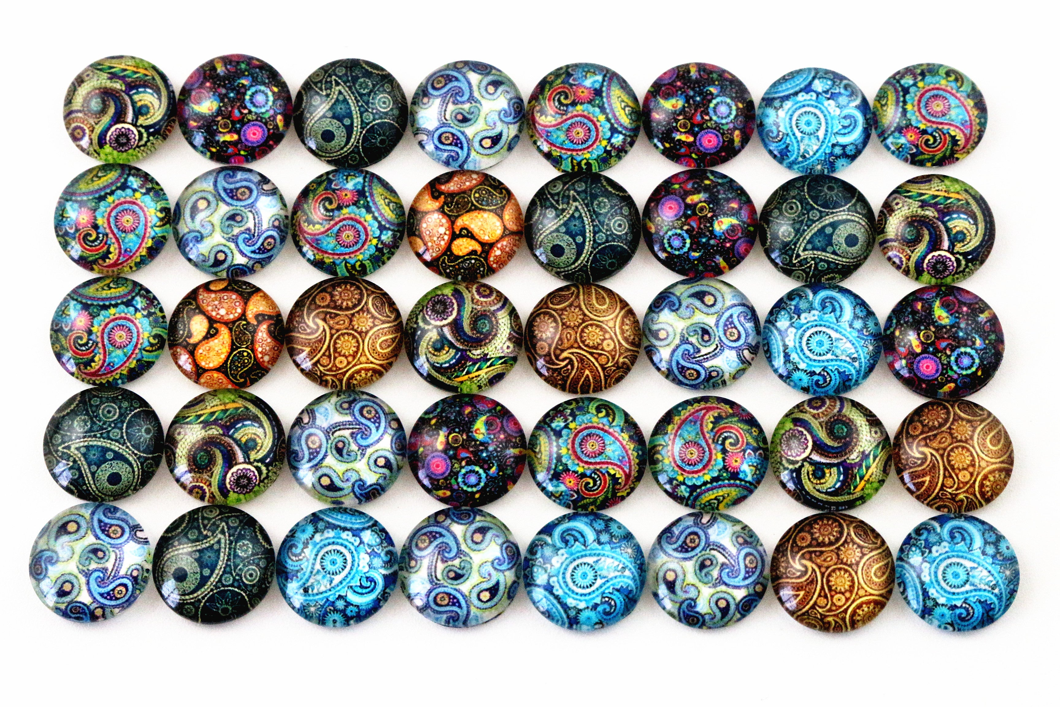 12mm Round Glass Cabochon Assorted Paisley Pattern Designs Cameo Fit Base Setting